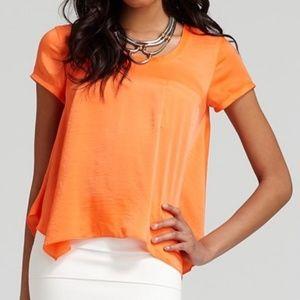 BCBGMaxAzria Kelsey Short Sleeve Silky Pocket Top